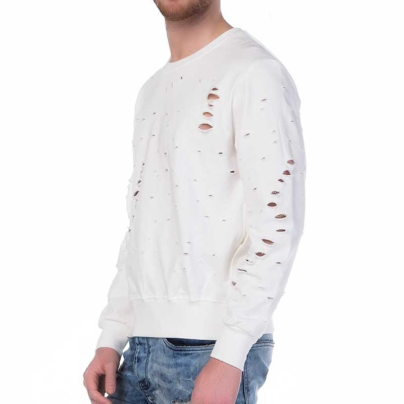 RED BRIDGE PULLOVER modern Zipp DAMAGED SWEAT Mode M1085 Mainstream cream