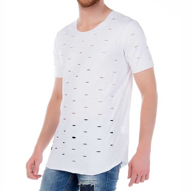 RED BRIDGE T-SHIRT modern leicht MUCH CUTS Sommer M1079 Zerschnitten Look white