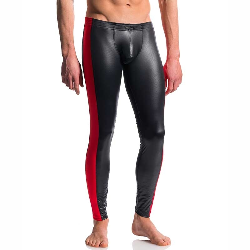 MANSTORE PANTS Hot KONTRAST LEGGINGS Wetlook M604 Clubwear black-red