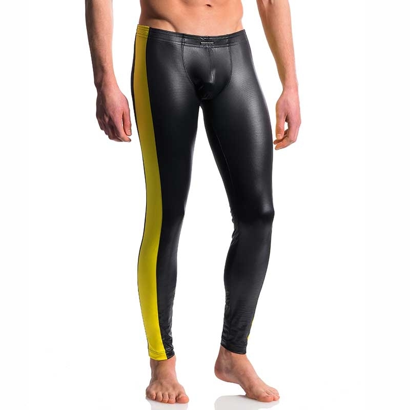 MANSTORE PANTS Hot KONTRAST LEGGINGS Electro Wetlook M604 Clubwear black-yellow
