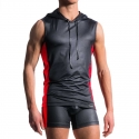 MANSTORE TANK Top hot KONTRAST HOODY TANK Wetlook M604 Clubwear black-red