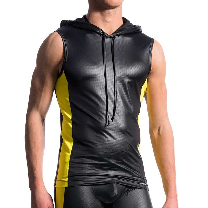 MANSTORE TANK Top hot KONTRAST HOODY TANK Electro Wetlook M604 Clubwear black-yellow