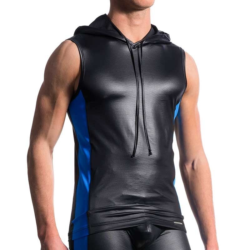MANSTORE TANK Top hot KONTRAST HOODY TANK Wassersport Wetlook M604 Clubwear black-royal