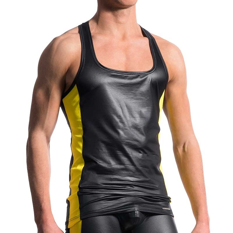 MANSTORE TANK Top hot ATHLETIC KONTRAST Electro Wetlook M604 Clubwear black-yellow