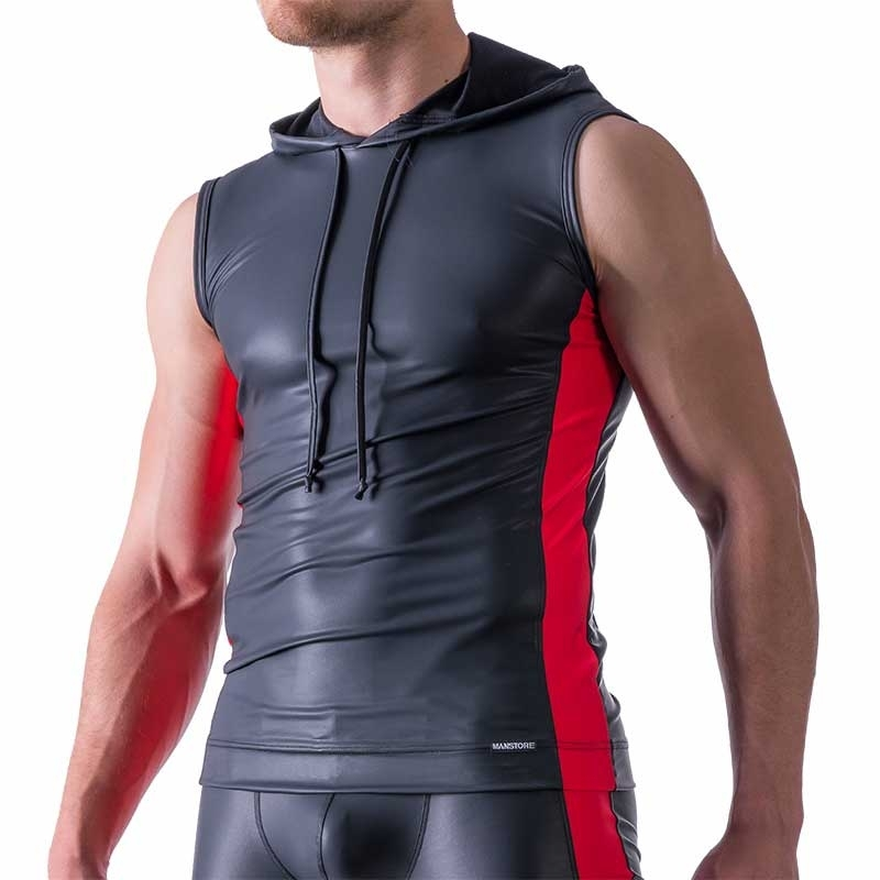 MANSTORE TANK Top Hot LEDER SPORT Hoody M521 Club red