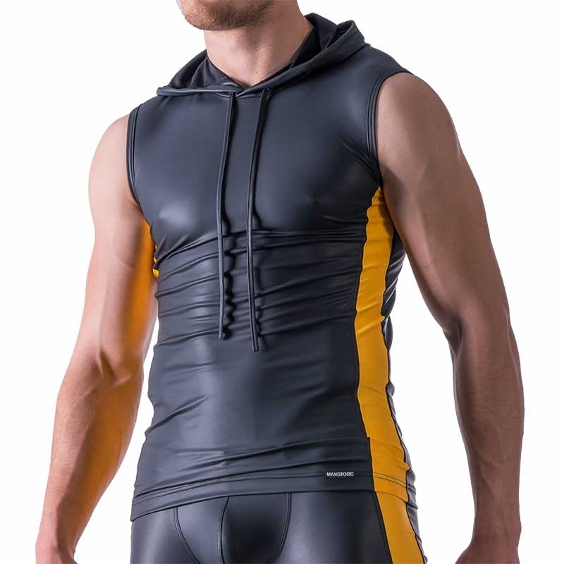 MANSTORE TANK Top Hot LIMITED EDITION LEDER SPORT Hoody M521 Club yellow