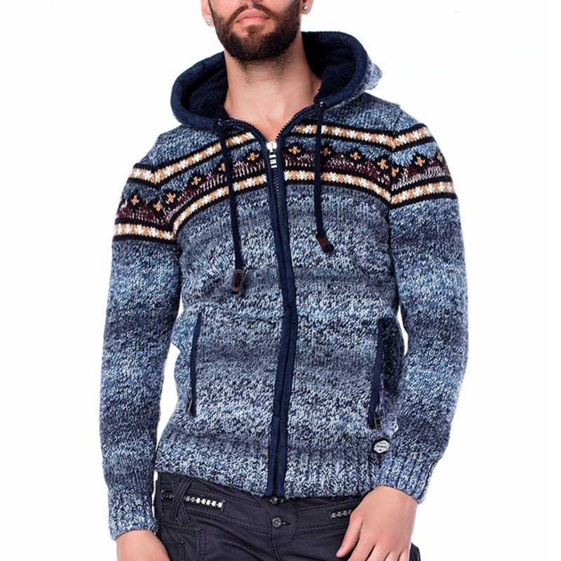 CIPO & BAXX STRICKJACKE relax TROMSO Kapuze CP120 Winter Wear blue