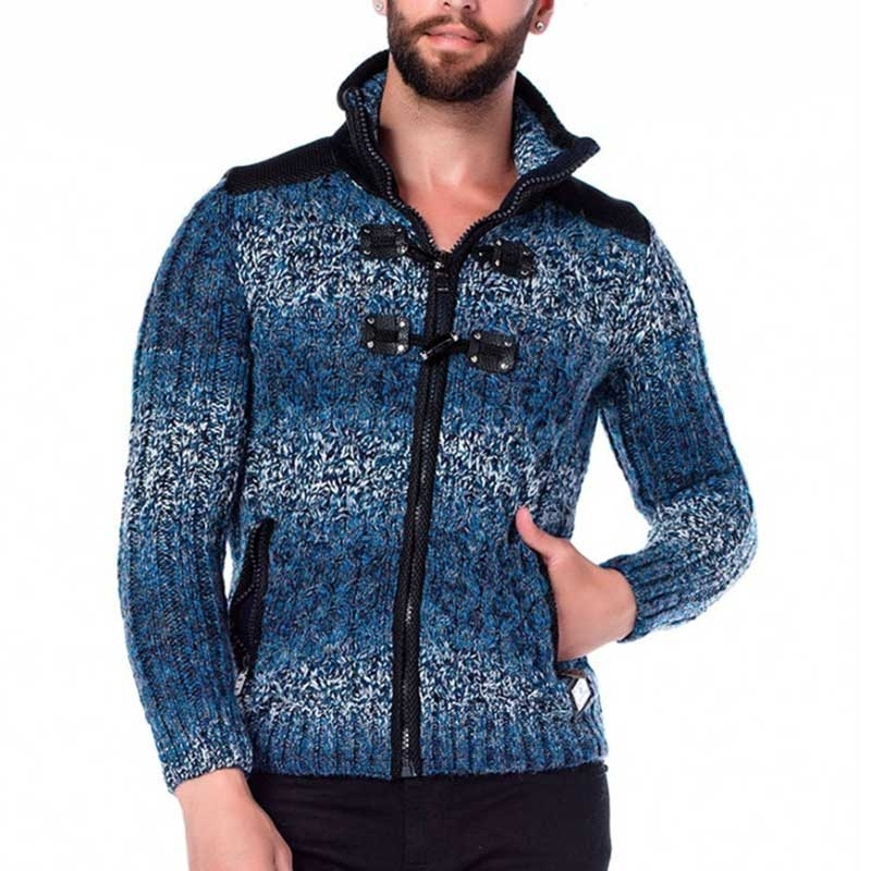 CIPO & BAXX STRICKJACKE regular DOPPELVERRIEGELUNG WYATT Draussen CP124 Natur Wear blue