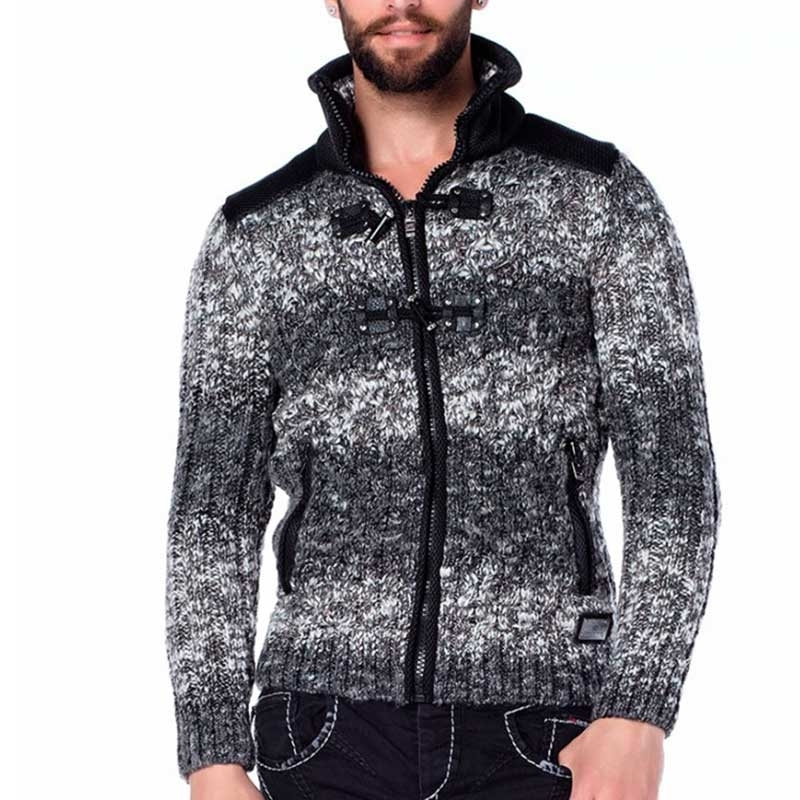 CIPO & BAXX STRICKJACKE regular DOPPELVERRIEGELUNG WYATT Draussen CP124 Natur Wear anthracite