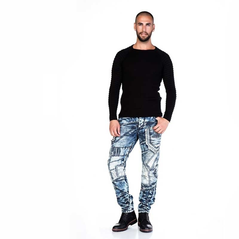 CIPO & BAXX SWEATER CP125 with ribbed fabric