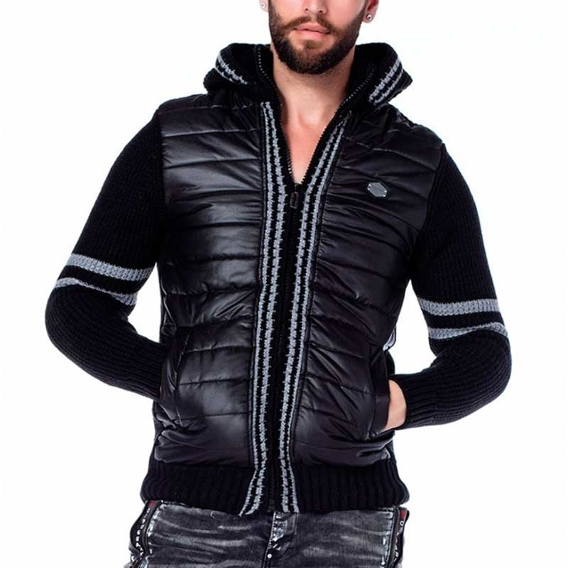 CIPO & BAXX STRICKJACKE regular WINTER VIC Kalt Wetter CP126 Down Look black