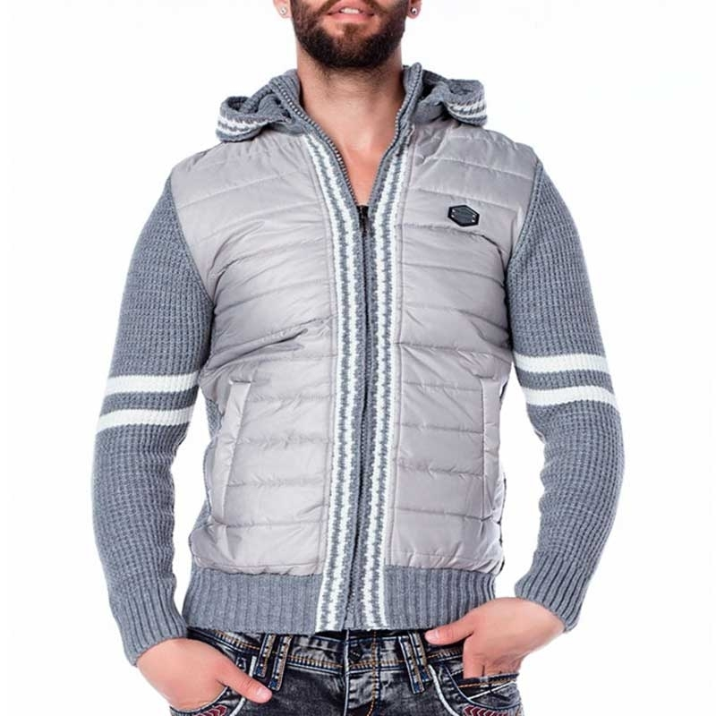 CIPO & BAXX STRICKJACKE regular WINTER VIC Kalt Wetter CP126 Down Look grey