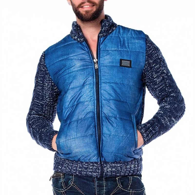 CIPO & BAXX STRICKJACKE regular WINTER NACHT Down CP127 Freizeit blue