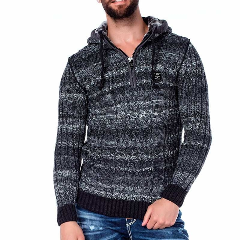 CIPO & BAXX STRICKJACKE modern COMFORT MATEO Style CP133 Winter Wear anthracite