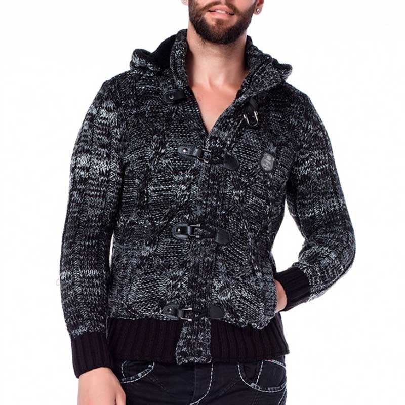 CIPO & BAXX STRICKJACKE comfort HERBST JOHN Kapuze CP135 All Season anthracite