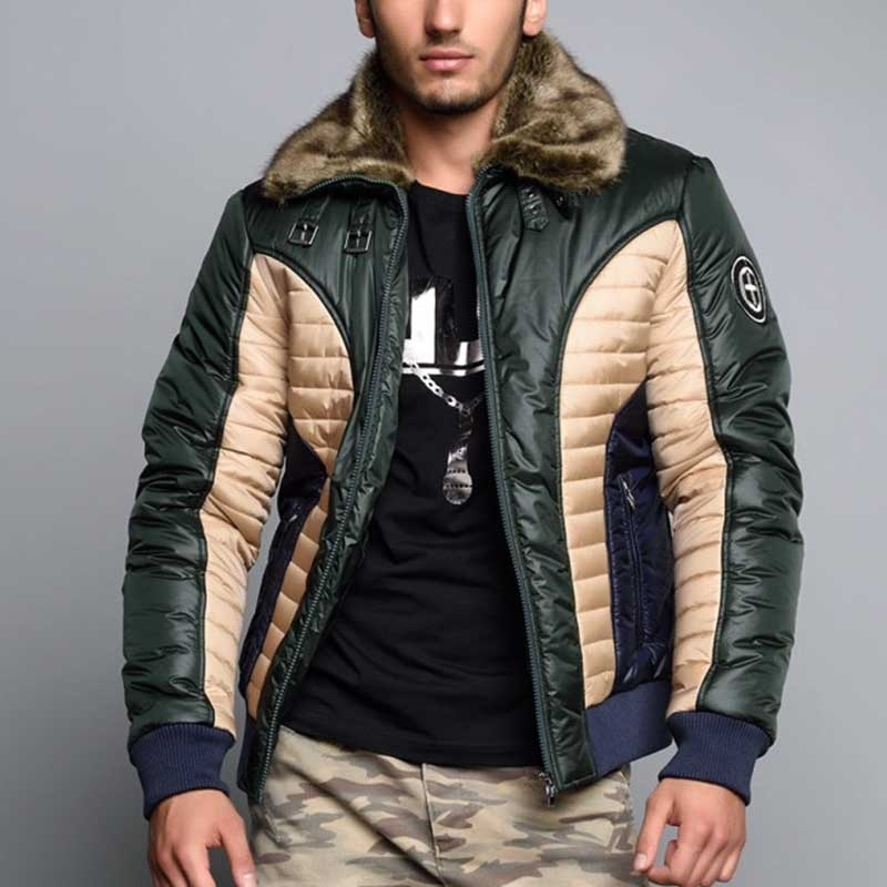 CIPO & BAXX DOWNJACKE modern WINTER SOLDIER Fell CM103 Kommando Look khaki