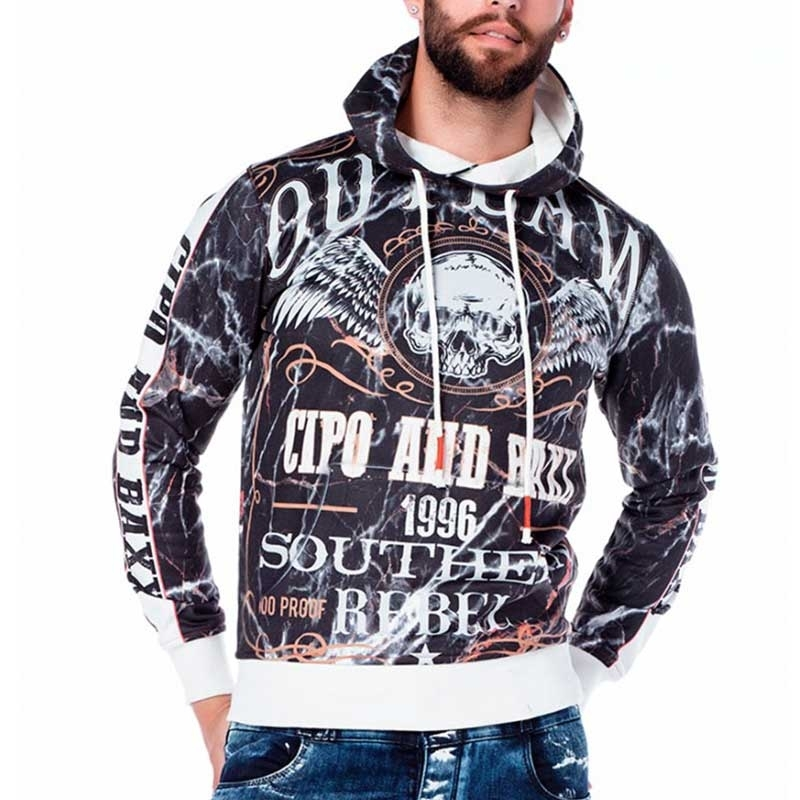 CIPO & BAXX PULLOVER regular SOUTHERN REBEL Kapuze CL169 Totenkopf anthracite
