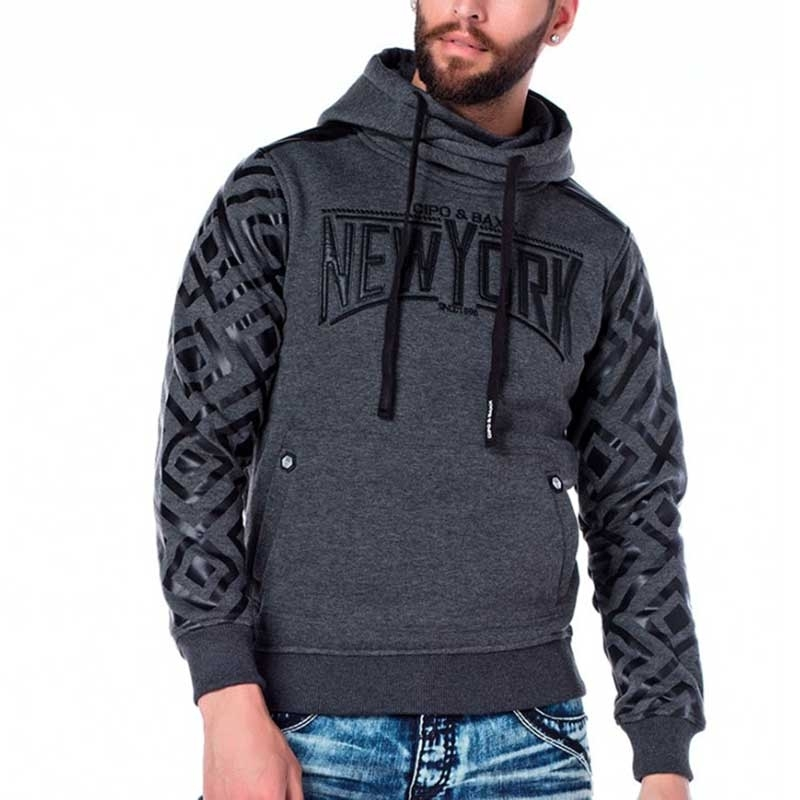 CIPO & BAXX PULLOVER comfort NEW YORK DESIGN Wetlook CL205 Classic Kapuze anthracite