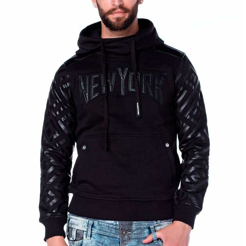 CIPO & BAXX PULLOVER comfort NEW YORK DESIGN Wetlook CL205 Classic Kapuze black