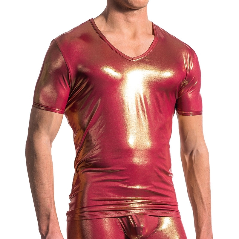 MANSTORE T-SHIRT hot GOLD MANFRED Mode M606 Mainstream Party red-gold