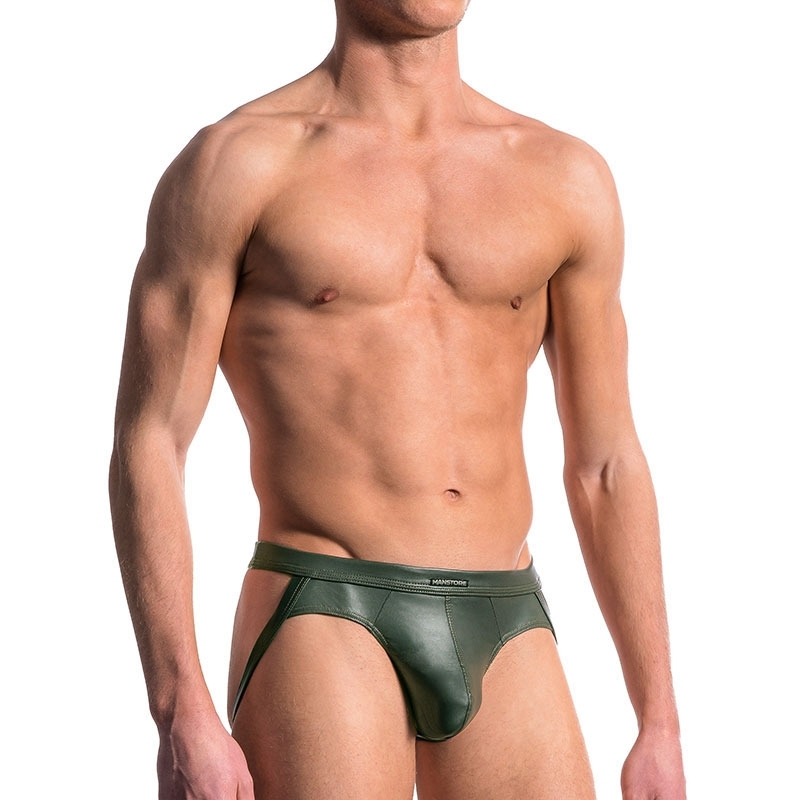MANSTORE JOCK hot FOLSOM LEDER Wet Look M510 Fetisch Party olive