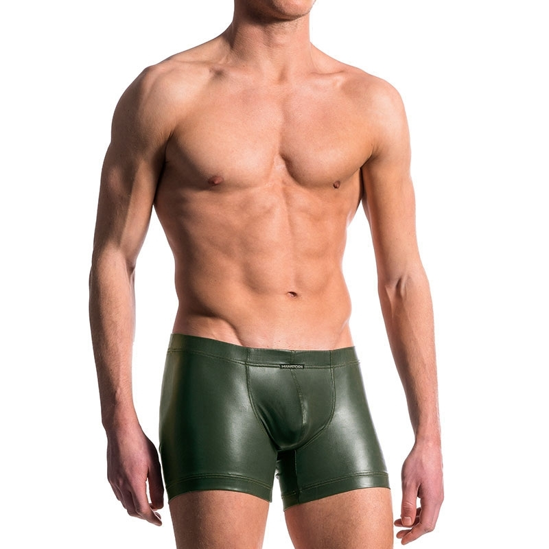 MANSTORE PANTS hot LEDER BOXER Wet Look M510 Army Party olive