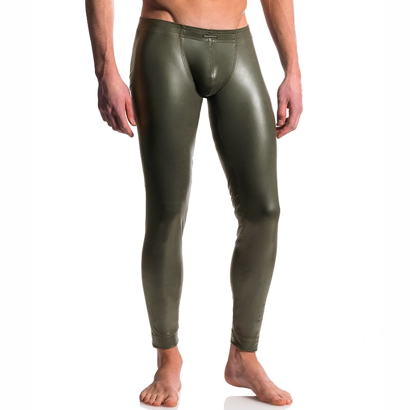 MANSTORE PANTS hot LEDER LEGGINGS Wet Look M510 Sexy Army olive
