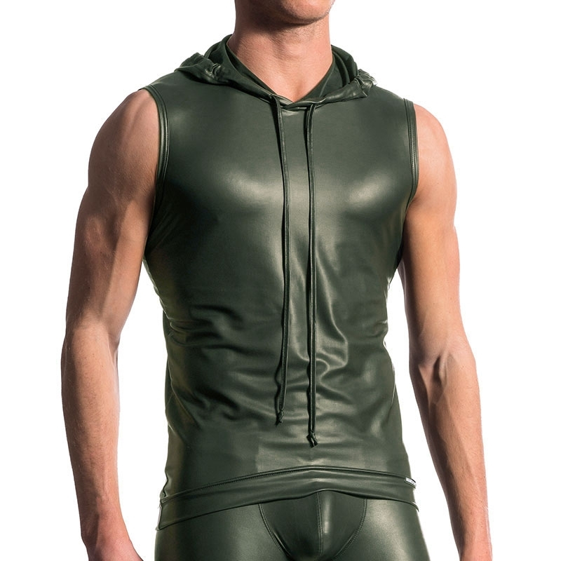 MANSTORE TANK Top hot LEDER SPORT Hoodie M510 Wet Look Club olive