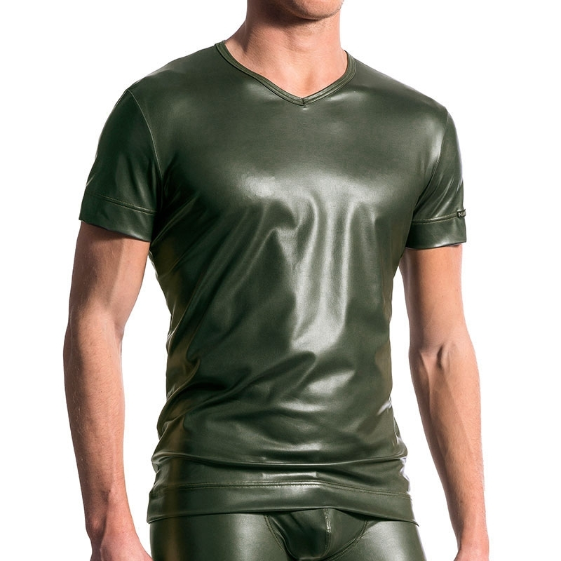MANSTORE T-SHIRT hot LEDER SPORT Wet Look M510 Aktiv Army olive