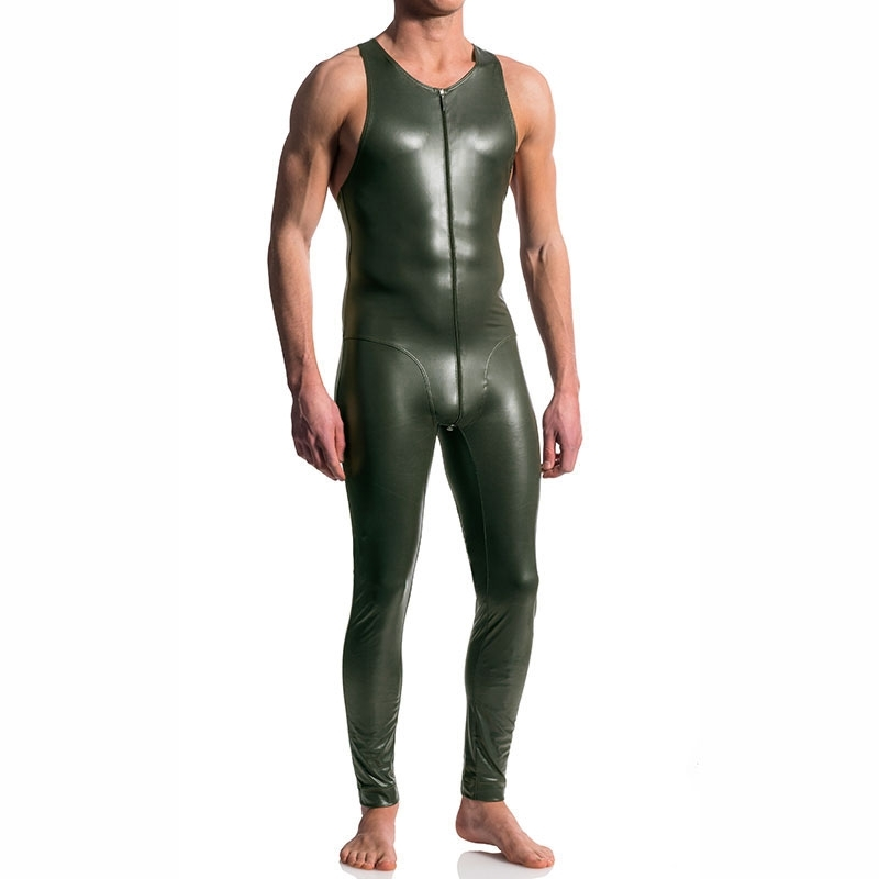 MANSTORE BODY hot FULL BODY LEDER Zip M510 Wet Look Tank olive