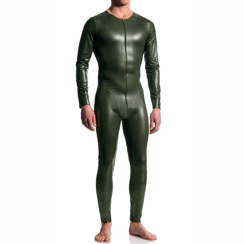 MANSTORE BODY hot FULL BODY LEDER Langarm M510 Wet Look Zipp olive