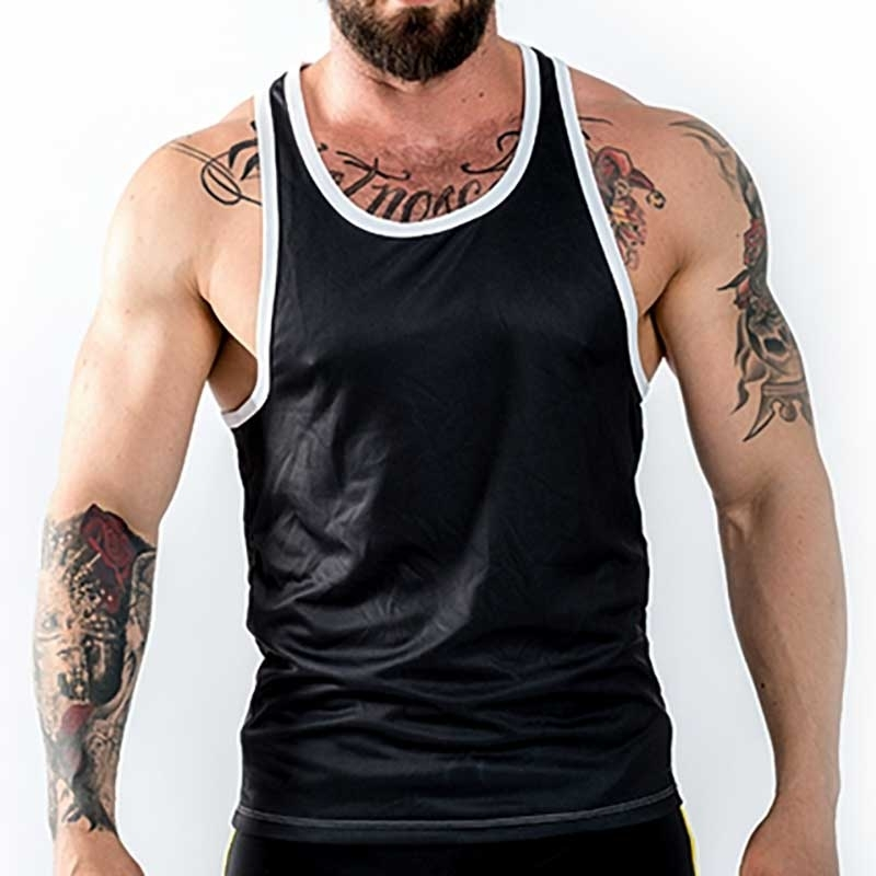 MISTER B TANK TOP regular URBAN LEEDS Muskel MB-822222 Club Wear black