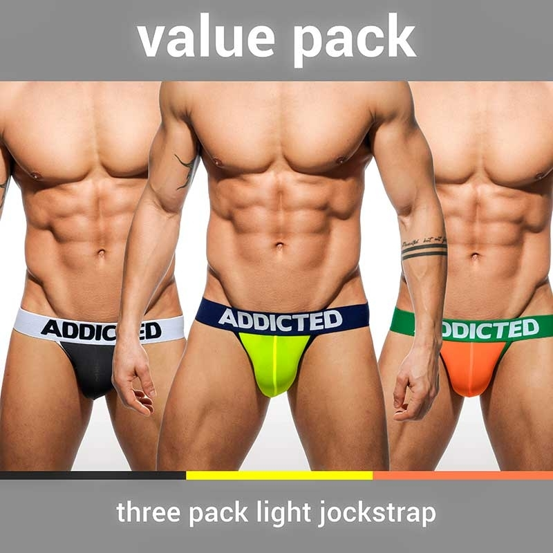 ADDICTED JOCK sexy VALUE 3ER-PACK Backless AD-404P Mainstream Wear mehrfarbig