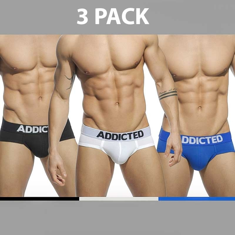 ADDICTED SLIP regular BASIC 3ER-PACK Alltag AD-420P Streetwear black-white-blue