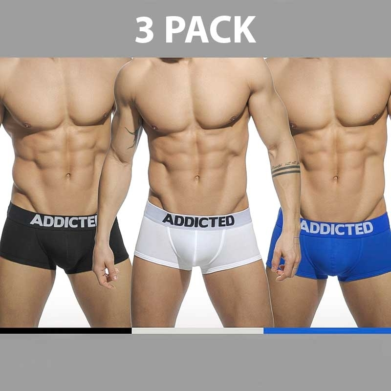ADDICTED PANT regular BASIC 3ER-PACK Every Day AD-421P Streetwear black-white-blue