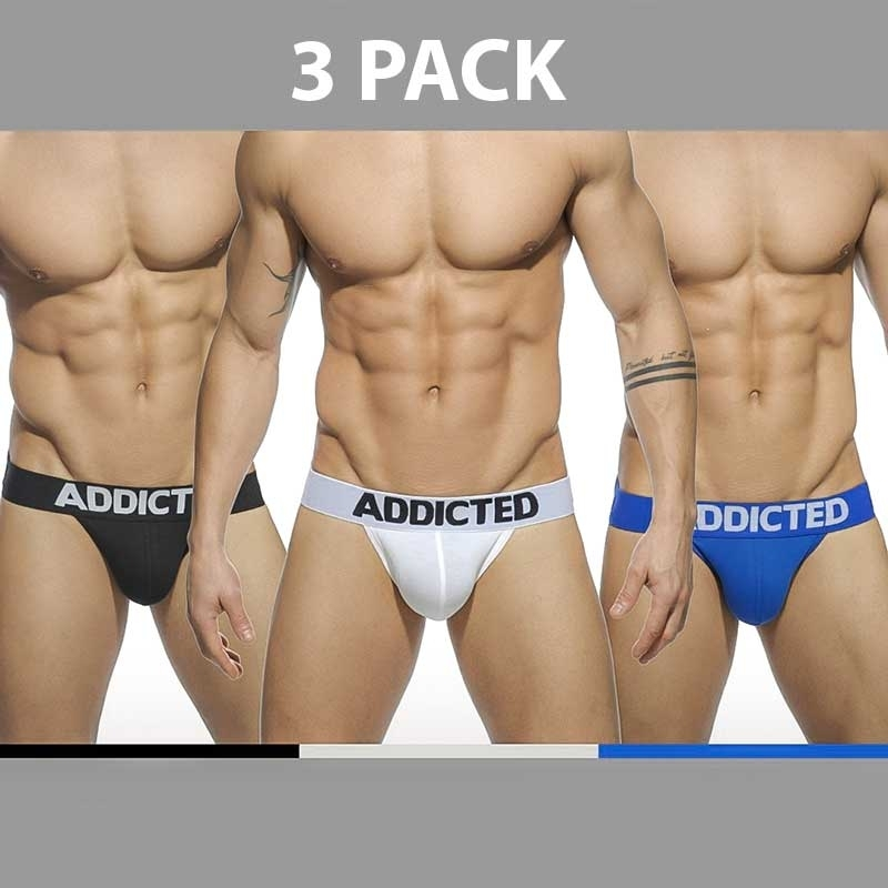 ADDICTED JOCK regular BASIC 3ER-PACK Backless AD-422P Streetwear black-white-blue