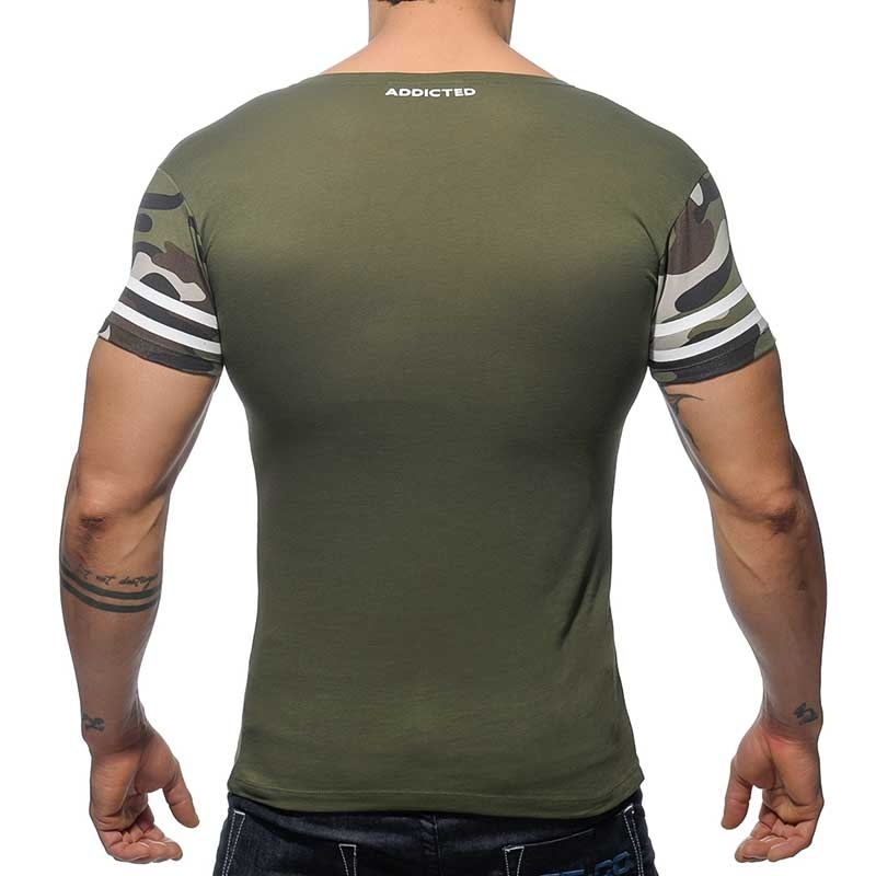 ADDICTED T-SHIRT regular V-NECK H8T Jersey Army AD-389 Mainstream olive-white