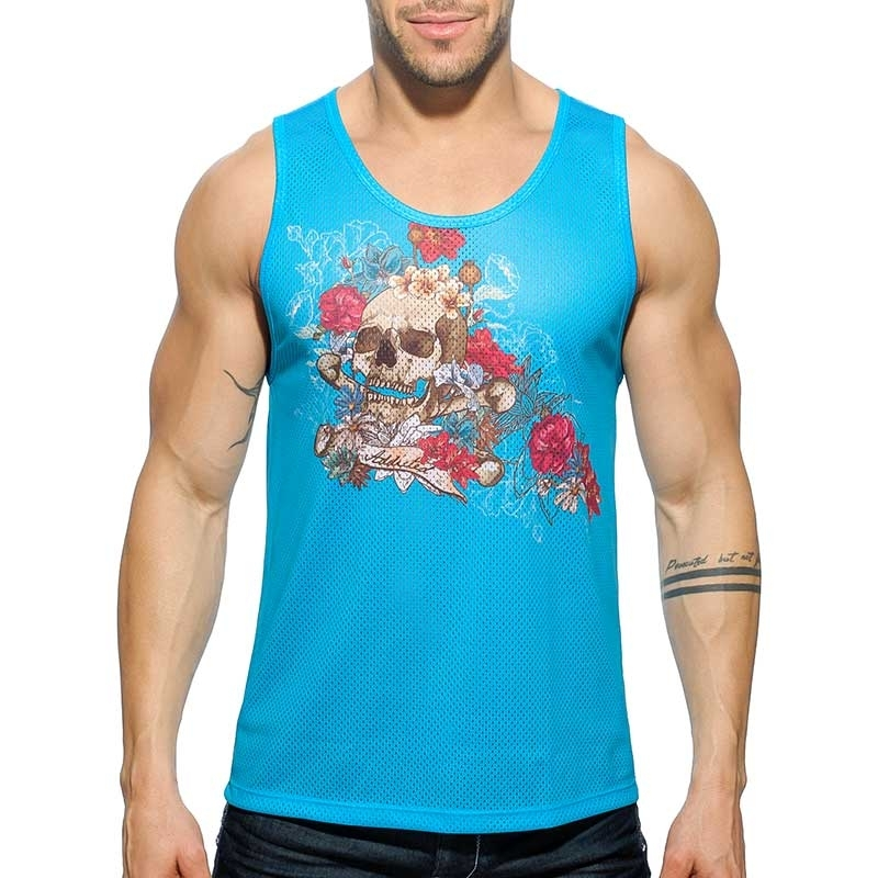 ADDICTED TANK TOP comfort TATTOO SKULL Netz AD-411 Street Wear blue