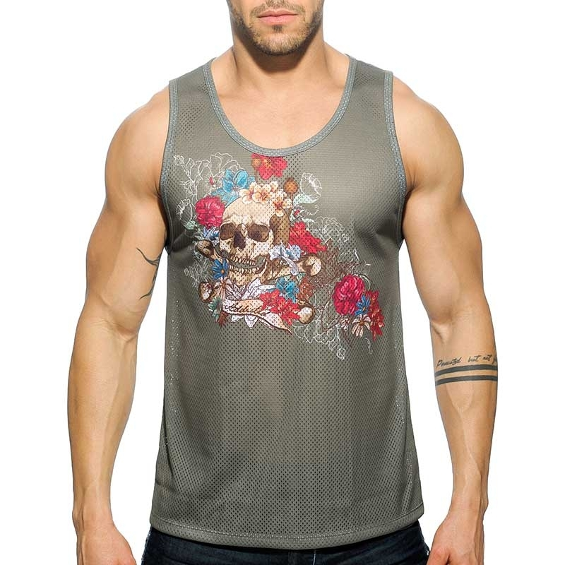 ADDICTED TANK TOP comfort TATTOO SKULL Army Netz AD-411 Street Wear olive