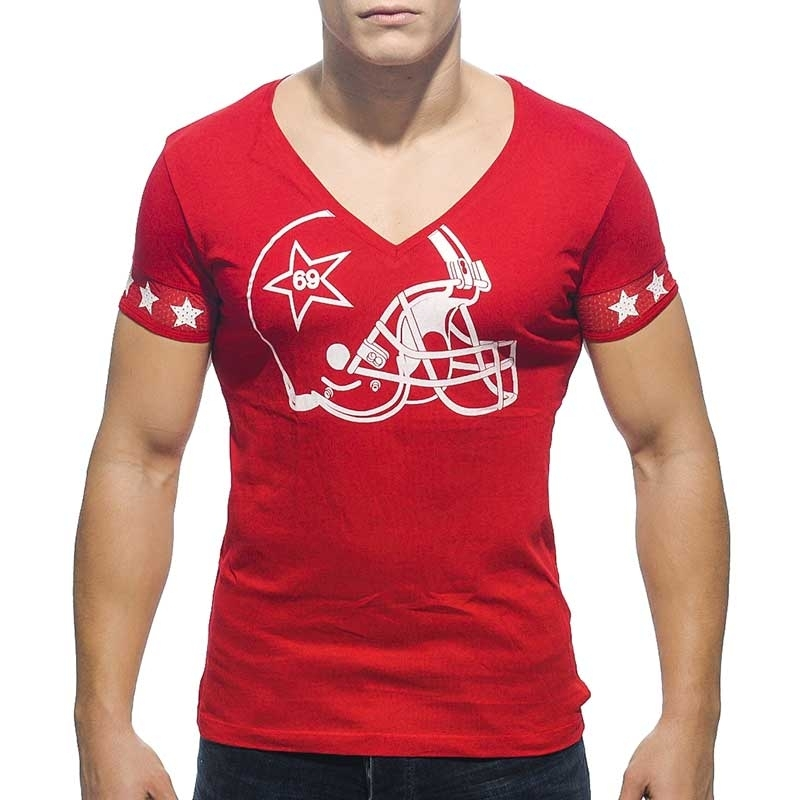ADDICTED T-SHIRT regular V-NECK HELM Football AD-300 Streetwear red