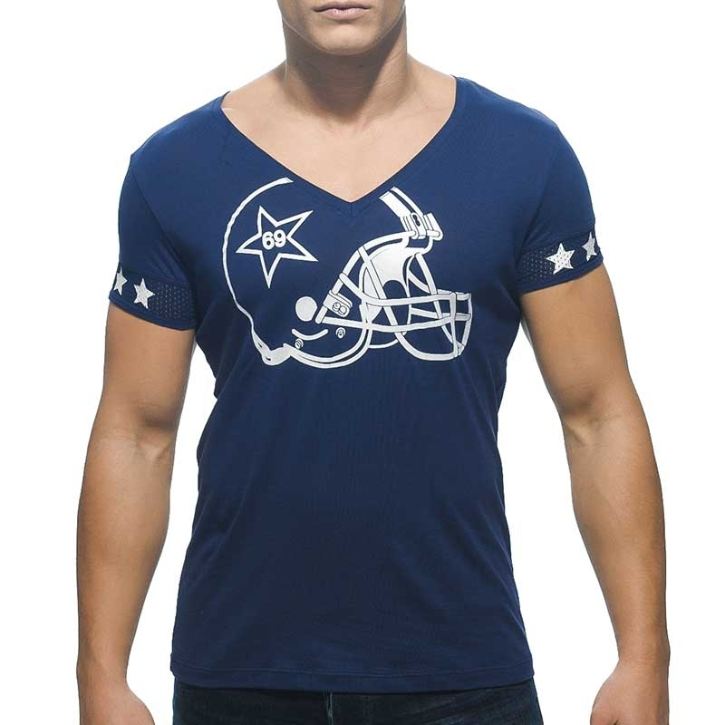 ADDICTED T-SHIRT regular V-NECK HELM Alltag Football AD300 Streetwear Navy