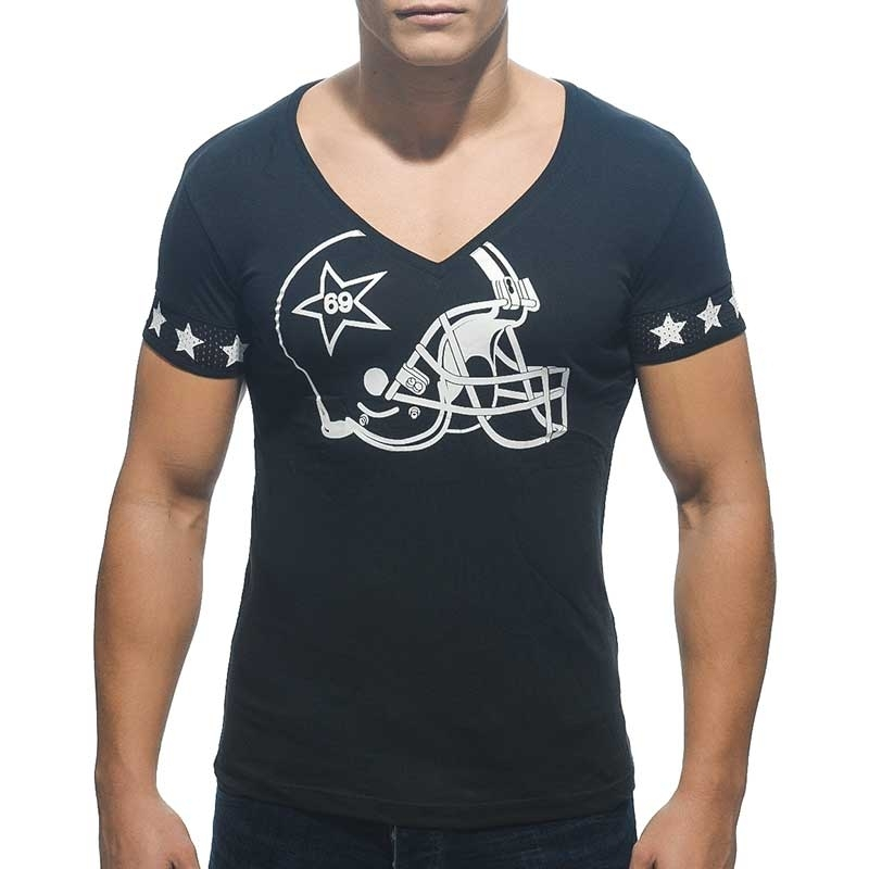 ADDICTED T-SHIRT regular V-NECK HELM Nacht Football AD-300 Streetwear black