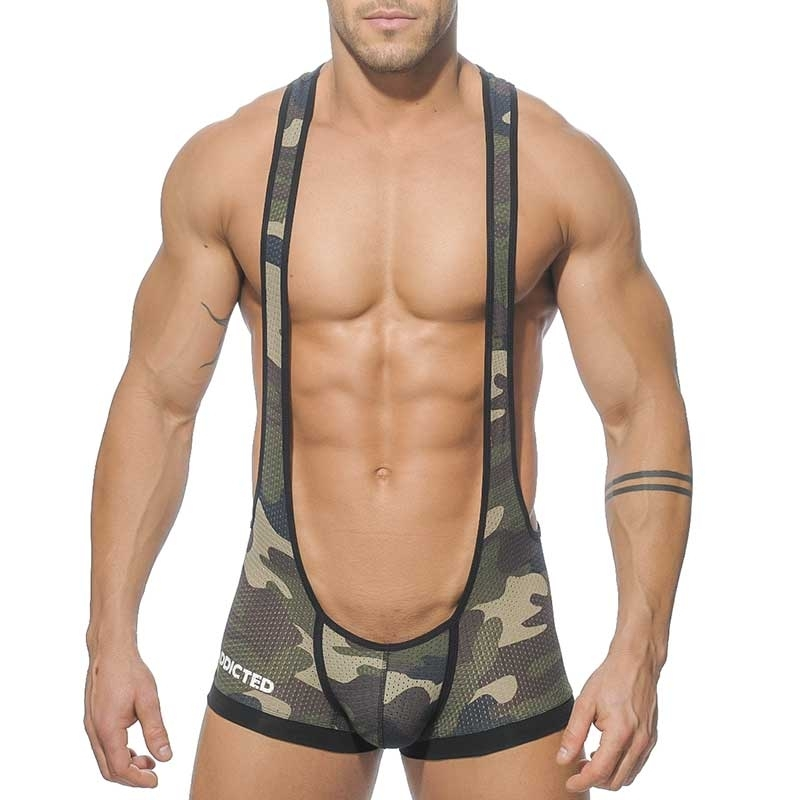 ADDICTED BODY sexy Army SINGLET CHAD Netz Backless AD-206 Fetisch Wear camouflage-black