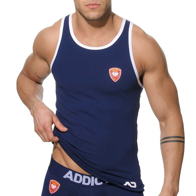 ADDICTED TANK TOP regular POLICE MAN DAVE Club AD-182 Streetwear navy