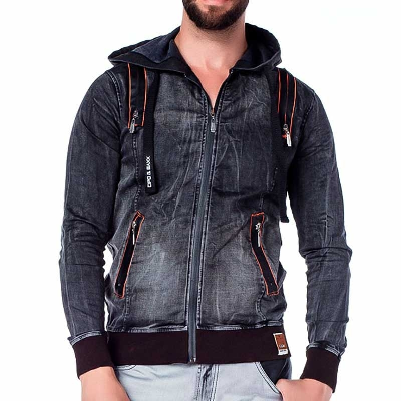CIPO and BAXX JEANSJACKE regular NEON ZIPP Kapuze CJ143 Streetwear denim-anthracite