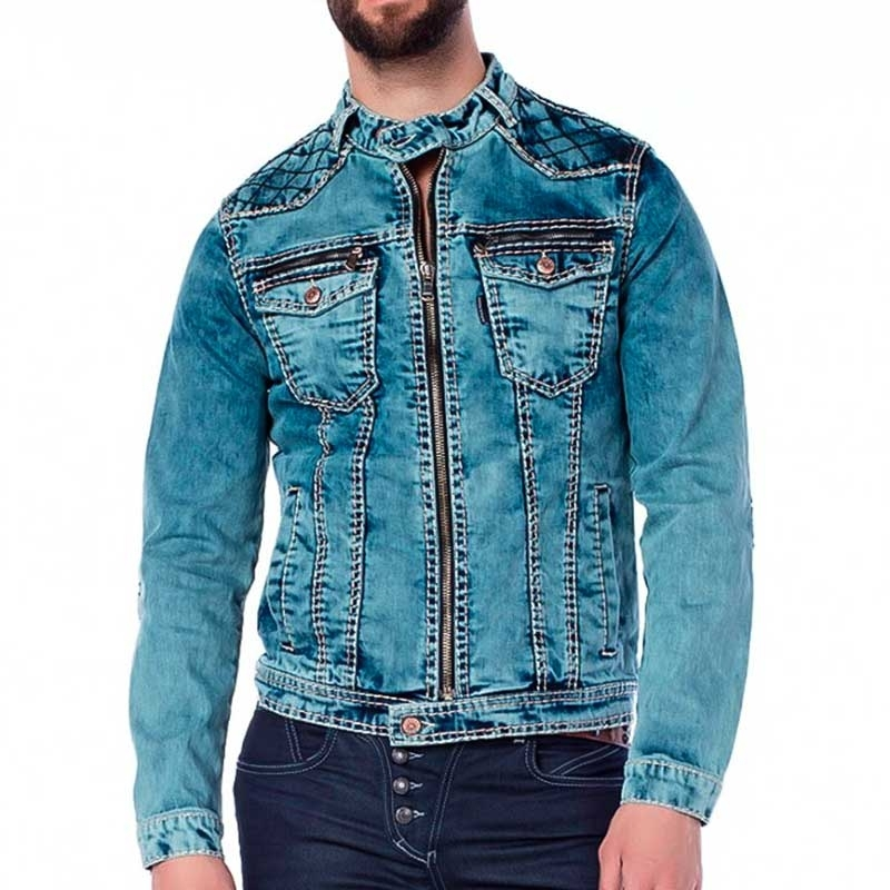 CIPO and BAXX JEANSJACKE regular BIKER DENIM Abenteuer CJ145 Aktiv Wear denim-blue