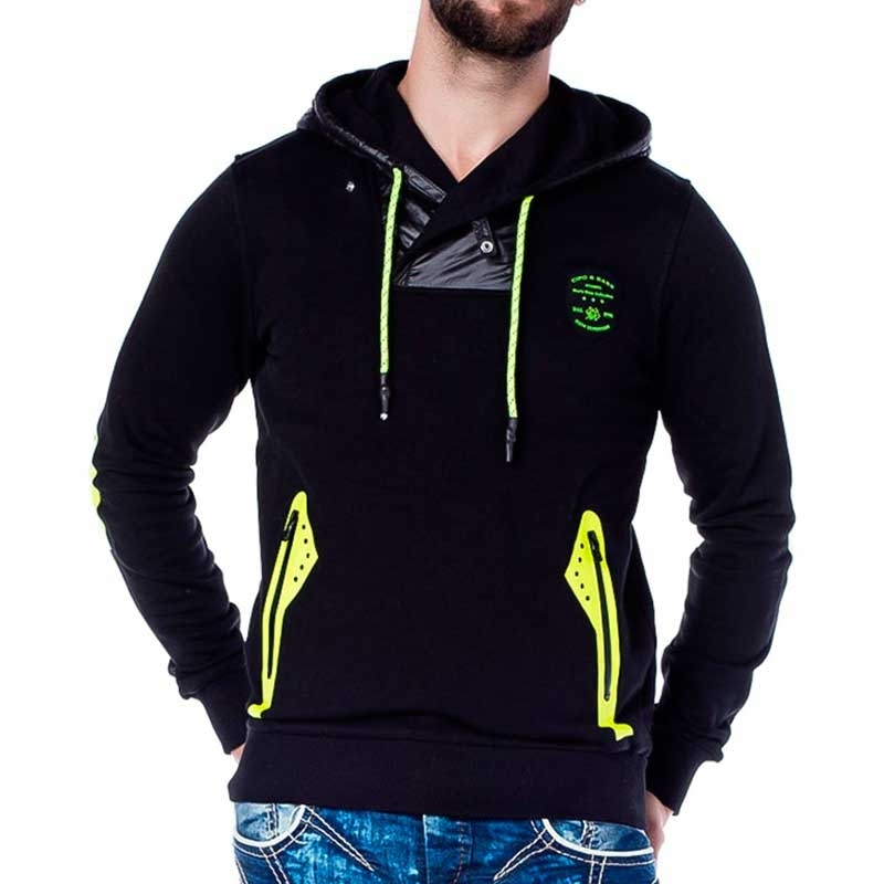 CIPO and BAXX HOODIE comfort NEON FROSCH Kapuze CL174 Mainstream black