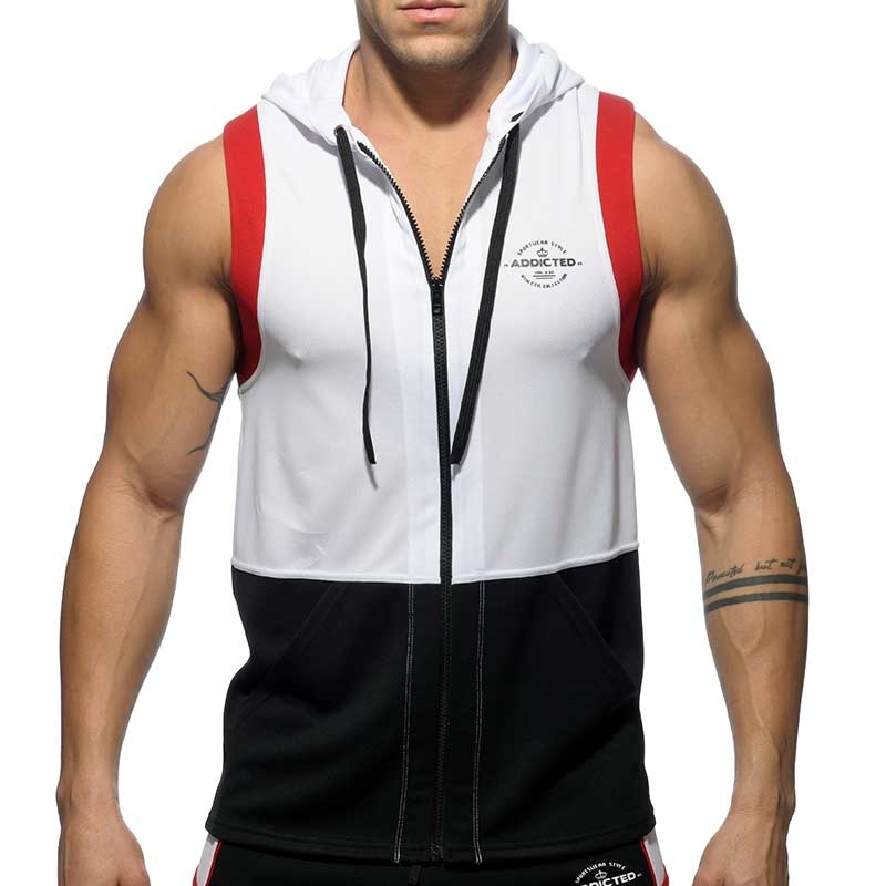 ADDICTED Athletik HOODIE TANK AD394 Aktiv Wear in white