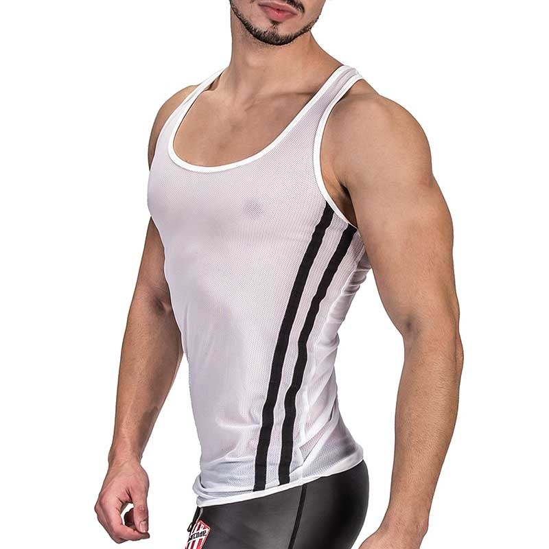 BARCODE Berlin TANK Top fitness AIDEN mesh 91333 bodystyle white black