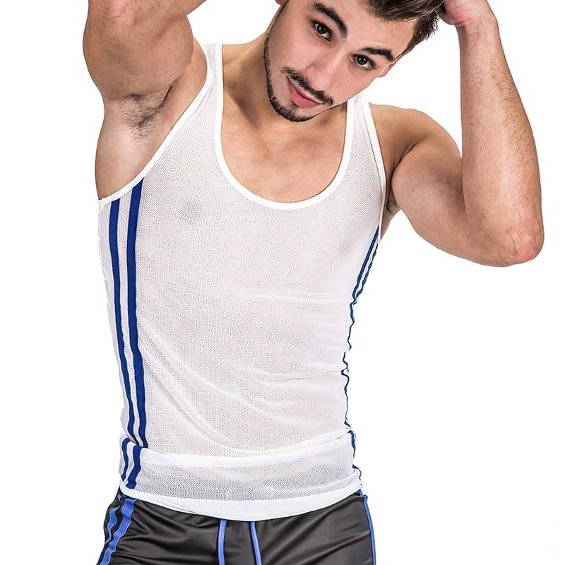BARCODE Berlin TANK Top fitness AIDEN mesh 91330 bodystyle white blue